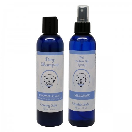 Dog shampoo and spray combo