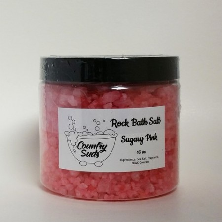 Sugary Pink 16oz Rock Bath Salt
